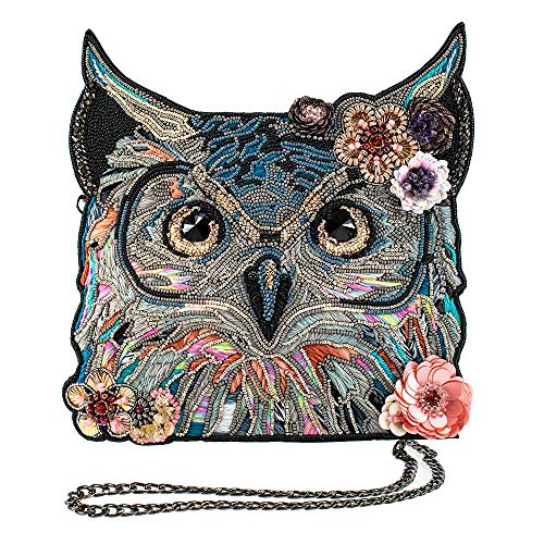 Mary Frances Spirit, Beaded, Embroidered Leather Owl Crossbody Handbag, Multicolor