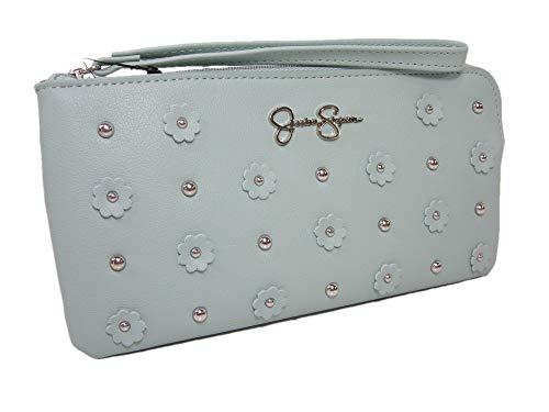 New Jessica Simpson Logo Wristlet Purse Hand Bag Grey Mist Mint Green Flowers