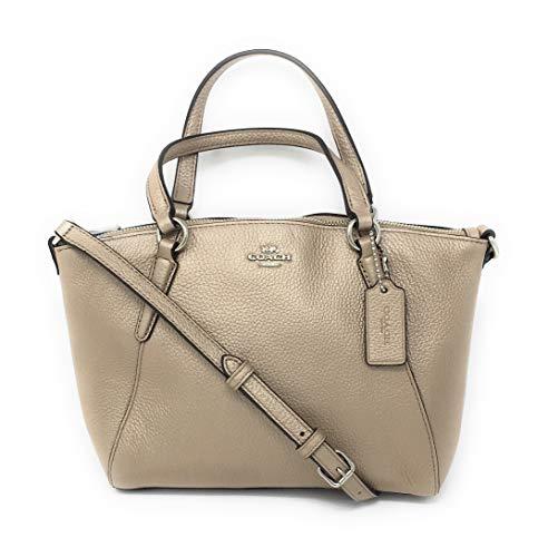 Coach Pebble Leather Mini Kelsey Satchel Crossbody Handbag (Metallic Platinum)