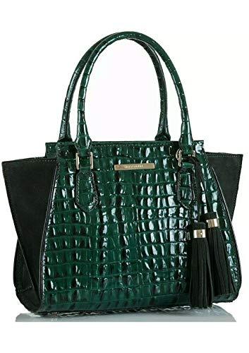 Brahmin Mini Priscilla Emerald Moore dark green satchel Handbag