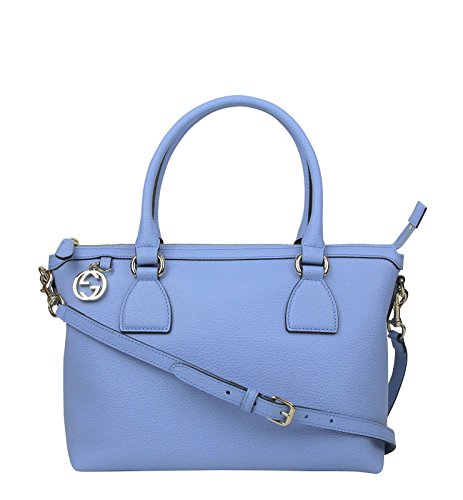 Gucci GG Charm Powder Blue Leather Medium Convertible Straight Bag With Strap 449659 4503