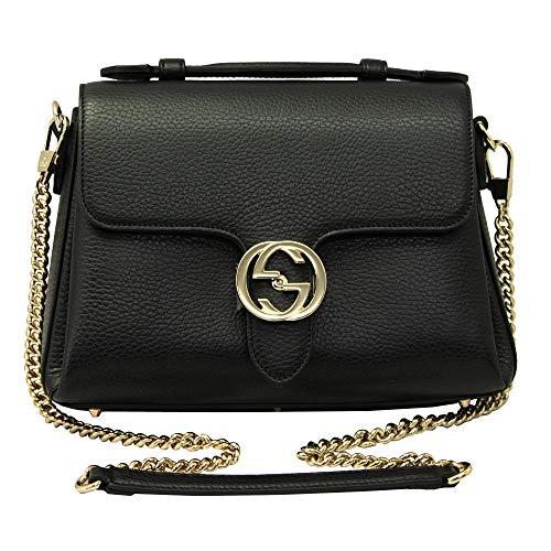Gucci Interlocking G Black Leather Chain Shoulder Bag 510302
