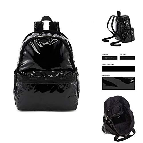 LeSportsac Black Patent Basic Backpack/Rucksack, Style 7812/Color 9908