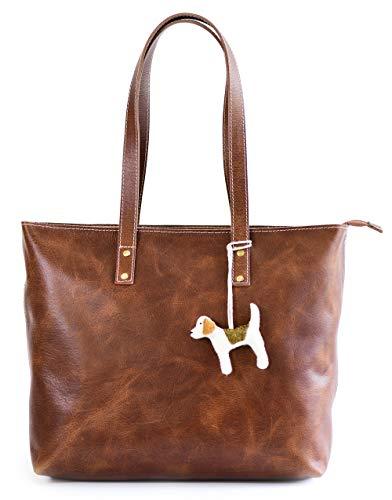 Vintage Genuine Leather Tote Bag for Women with Zipper – Large Shoulder Handbag