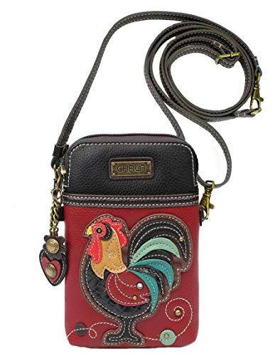 Chala Group Rooster Cellphone Crossbody Handbag – Rooster Gift, Burgundy, 5″ x 7.5″ x 1″