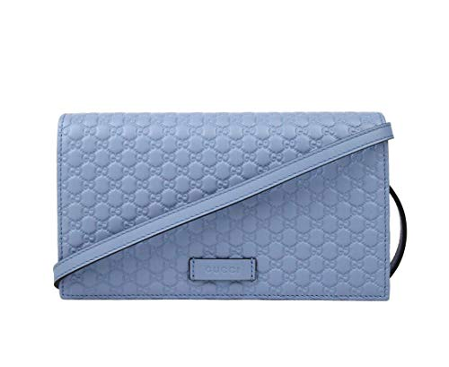 Gucci Light Blue Leather Crossbody Wallet Bag 466507 4503