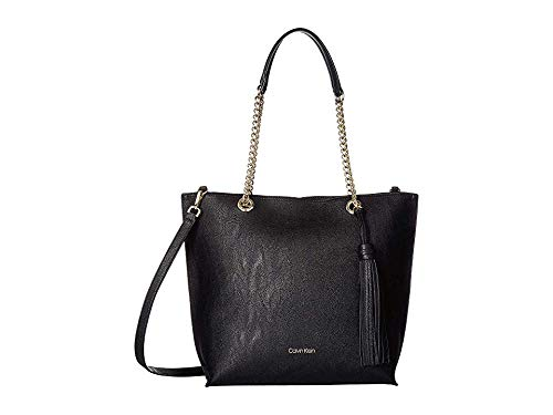 Calvin Klein Women's Unlined Novelty Top Zip Tote Black/Gold One Size