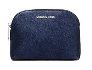 Michael Kors Pouch Clutch Purse Glitter Leather Admiral Navy