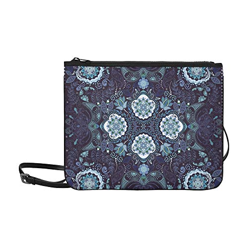 Ornamental Paisley Pattern Design For Pocket Squa Pattern Custom High-grade Nylon Slim Clutch Bag Cross-body Bag Shoulder Bag