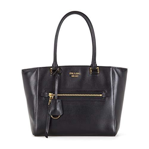 Prada Twins Pocket Black Medium Glace Calf Leather Tote Shoulder Bag 1BG227