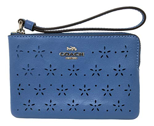 Coach Floral Perforated Corner Zip Small Wristlet Blue Midnight F67608