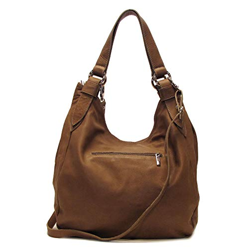 Siena Leather Hobo Shoulder Bag in Beige