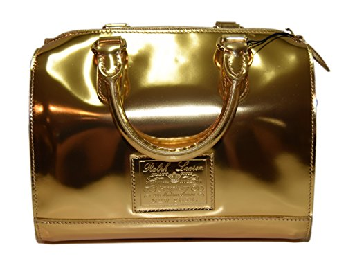 Polo Ralph Lauren Collection Proprietor Womens Leather Handbag Bag Gold Italy