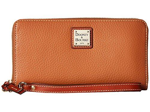 Dooney & Bourke Pebble Leather Lg Zip Around Wallet Wristlet Caramel