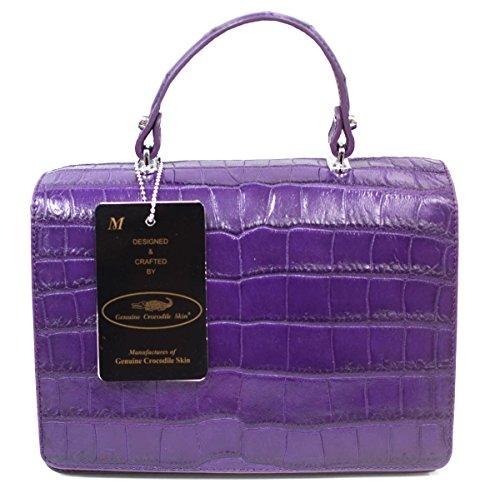 Authentic M Crocodile Skin Womens Belly Clutch Bag Purse W/Strap Purple Handbag