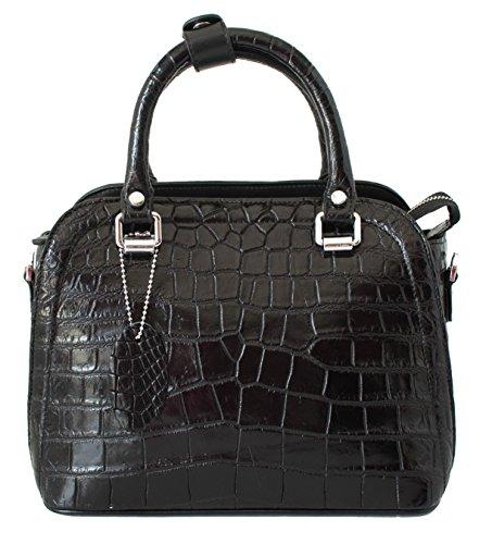 Authentic M Crocodile Skin Womens Belly W/Strap Clutch Bag Tote Purse Black Handbag