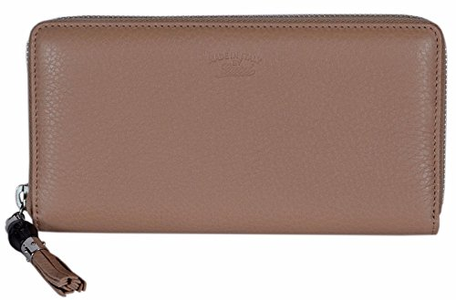 Gucci Women's 307984 Beige Leather Trademark Logo Zip Around Wallet
