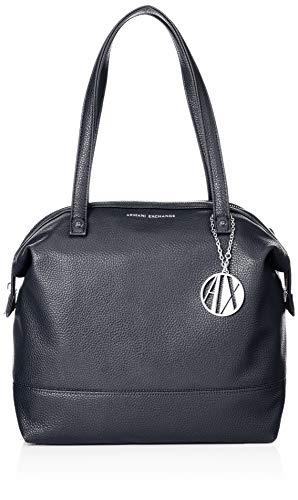 A|X Armani Exchange Pebble PU Top Zip Shoulder Bag, navy