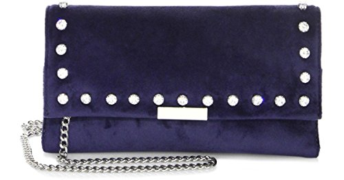 Loeffler Randall Crystal-Studded Blue Velvet Silver Tab Clutch Crossbody Bag – Eclipse