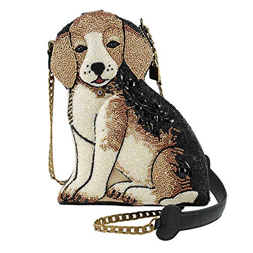 MARY FRANCES Regal Beagle Beaded Puppy Dog Crossbody Handbag