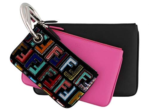 Fendi Triplette FF Zucca Calfskin Three Piece Clutch Bag Pouch Set Multicolor + Geranio 8BS001