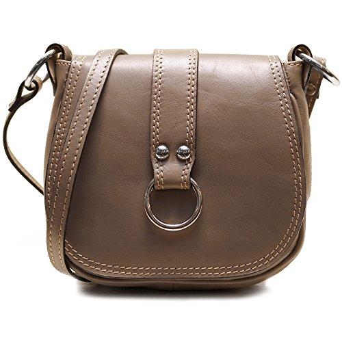 Floto Women's Saddle Bag in Grey Italian Calfskin Leather – handbag shoulder bag