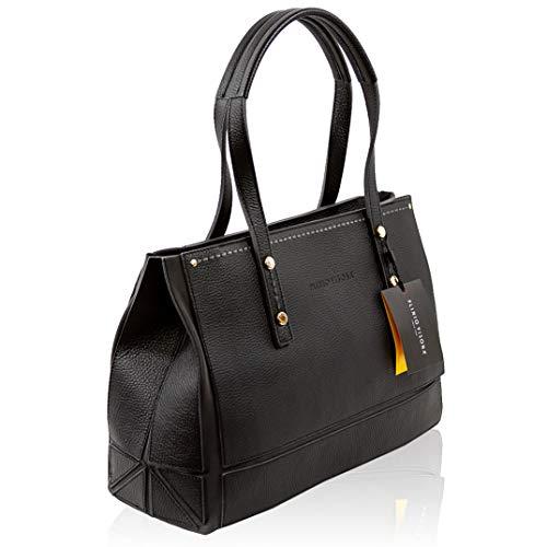 Plinio Visona Italian Designer Black Origami Leather Tote Purse Large Bag