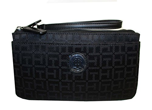 Tommy Hilfiger Wristlet Wallet Bag Black Canvas Double Zip