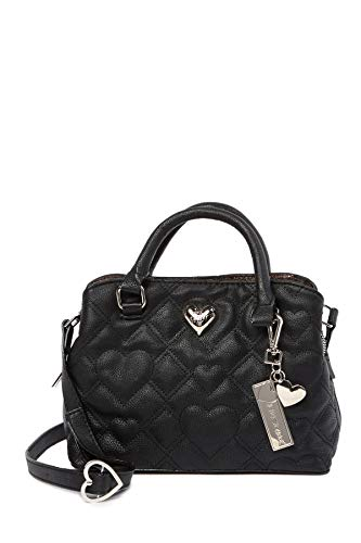 Betsey Johnson Quilted Hearts XOXO Betsey Heart Detail Detachable Charm Triple Entry Small Satchel Shoulder Bag