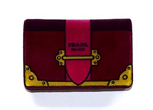 Prada Velvet Cahier Mini Bag Clutch Bag Red Amarena Chain Handbag 1BP011