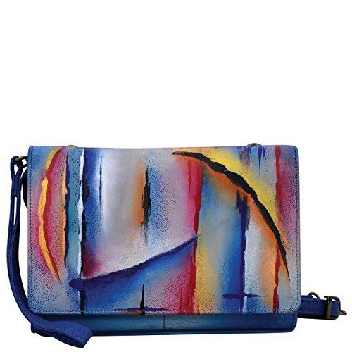 Anuschka Hand Painted Leather | Women's Convertible Organizer/Wristlet/Clutch | Northern Skies