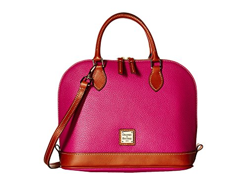 Dooney & Bourke Pebble Grain Zip Zip Satchel,Magenta