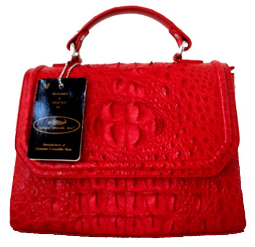 Authentic M Crocodile Skin Womens Clutch Shoulder Bag W/Strap Shiny Red Handbag