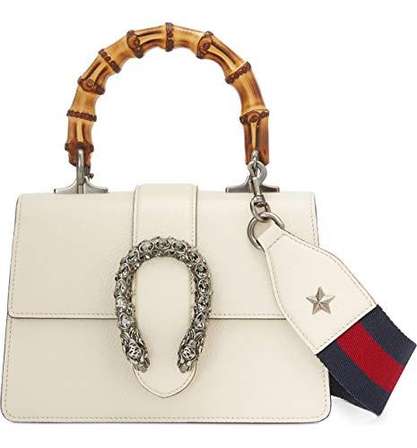 Gucci Dionysus Bamboo Ivory Swarovski Leather Bag Web Strap New