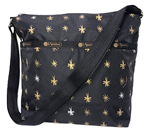 LeSportsac Starlet Small Cleo Crossbody Handbag, Style 7562/Color E020 (Metallic Iridescent Gold & Silver Starlet Bursts)