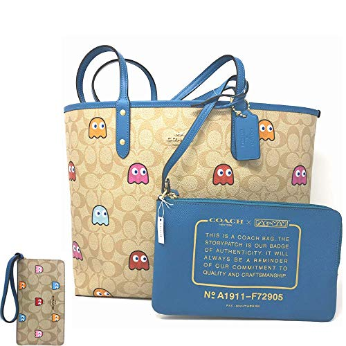 COACH BLUE REVERSIBLE CITY TOTE IN SIGNATURE PACMAN GHOST PRINT DESIGN W/WRISTLET & COACH PACMAN GHOSTS WRISTLET BUNDLE EXCLUSIVE BY EUROPEAN PARTNERS