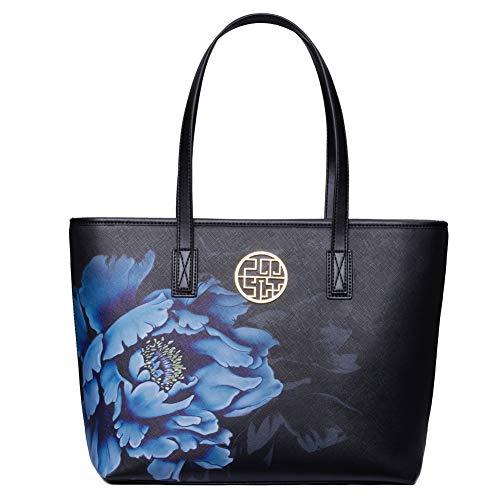 Eastpm Handbags for Women Leather Tote Shoulder Bag from Dreubea Big Capacity Tassel Handbag (blue)