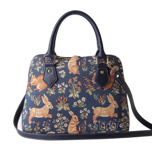 Signare Tapestry Women Top Handle Handbag with Detachable Strap with Millie Fleur Rabbit and Squirrel Blue (CONV-FORE)