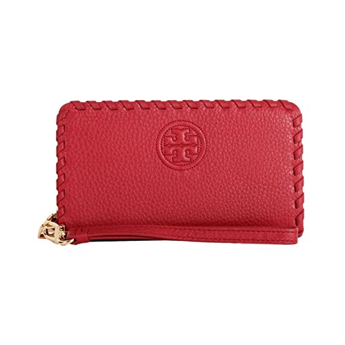 Tory Burch Marion Smartphone Leather Wristlet Wallet Style NO. 40855 (Redstone)