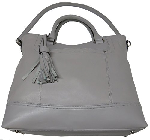 Tignanello Women's Genuine Leather Smooth Operator Shopper, Frost/Light Gray