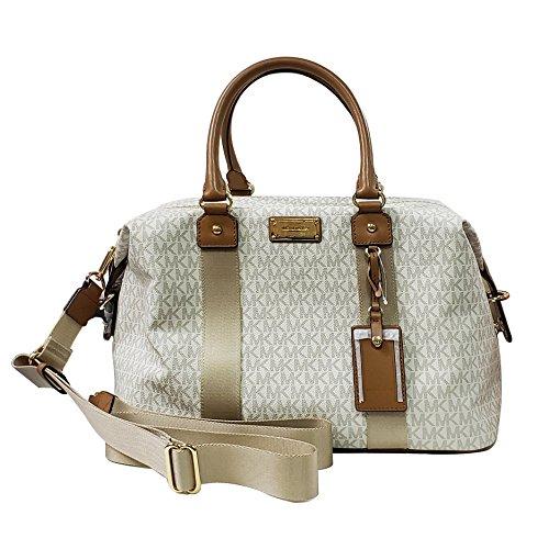 Michael Kors LG large travel bag weekender purse MK vanilla acorn brown