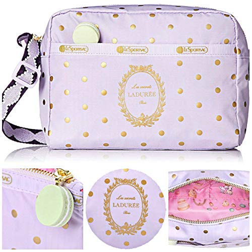 LeSportsac Les Secrets Laduree Pois Cassis Violette Daniella Crossbody Handbag, Macaron Zipper Pull, Style 2434/Color G611 (Metallic Iridescent Gold Speckles)