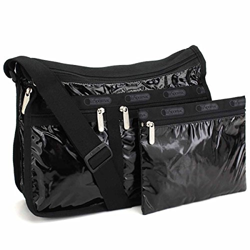 LeSportsac Black Patent Deluxe Everyday Crossbody Bag + Cosmetic Bag, Style 7507/Color 9908