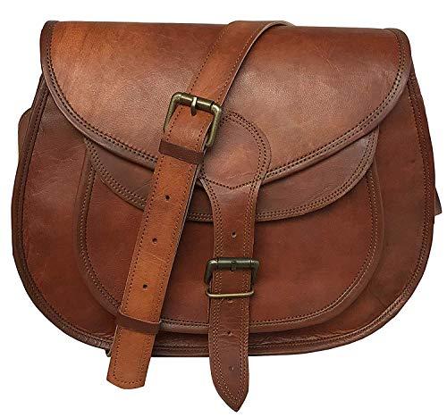 cuero 14 Inch Leather Crossbody Satchel Ladies Purse Women Shoulder Bag Tote Travel Purse Genuine Leather (brown)