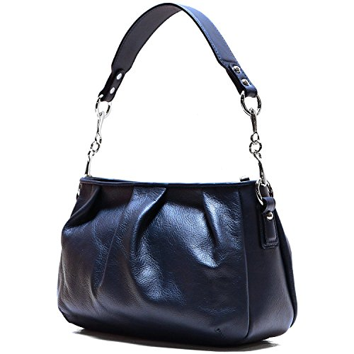 Floto Firenze Hobo Shoulder Handbag in Soft Blue Calfskin Leather