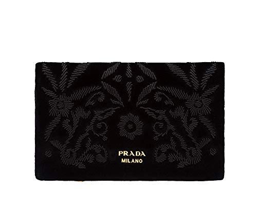 Prada Busta Morbida Black Velvet Floral Print Pouch Clutch Bag Wallet 1MS003
