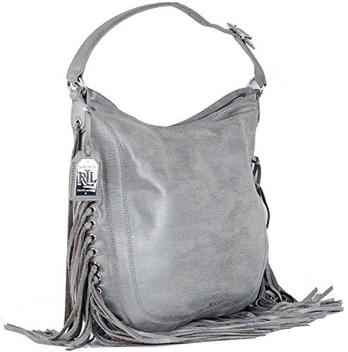 Lauren Ralph Lauren Leather Fleetwood Hobo Women's Handbag, Gray/Graphite