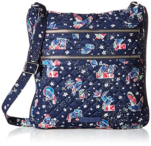 Vera Bradley Women's Iconic Triple Zip Hipster Holiday Owls One Size