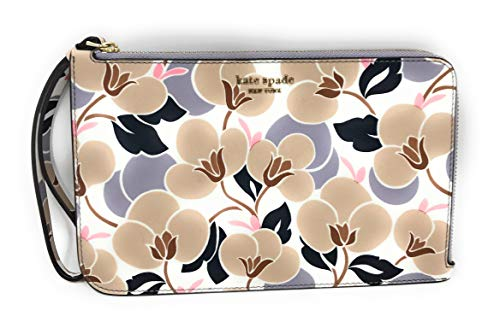 Kate Spade Large L-Zip Cameron Saffiano Leather Wristlet Breezy Floral Neutral