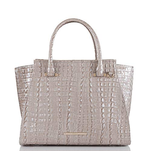 Brahmin Priscilla Genuine Leather Satchel (Warm Gray)